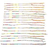 SUPVOX 30pcs Pulseras de la Amistad Coloridas Pulseras Tejidas a Mano para Mujeres y niñas (Color Aleatorio)