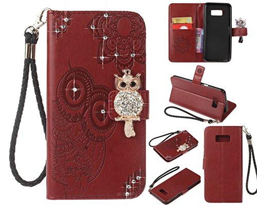 Artfeel Glitzer Diamant Brieftasche Hülle für Samsung Galaxy S8, Geprägt Eule Blume Leder Flip Kartenhalter Hülle,3D Bling Strass Magnetverschluss mit Handschlaufe Stand Handyhülle-Rot Braun - Geprägtes Leder Stamm