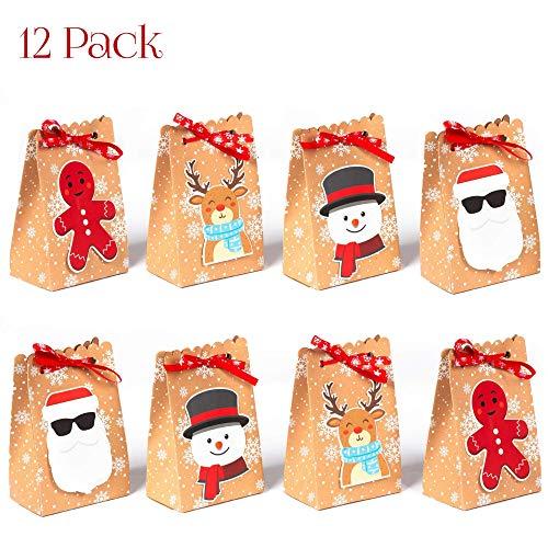 NIMU 12 Stück adventskalender Weihnachtsgeschenk beutel Wiederverwendbare Papier Boxen für Geschenke Süßigkeiten Kekse Bundle Xmas Theme Geschenkverpackung Taschen Holiday Bulk Prime