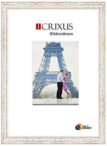 Crixus40 Echtholz Bilderrahmen für 14 x 11 cm Bilder, Farbe: Weiß Braun Landhaus, Massivholz Rahmen in Maßanfertigung mit Acryl Kunstglas (Bruchsicher) und MDF Rückwand, Rahmen Breite: 40 mm, Aussenmaß: 20,9 x 17,9 cm