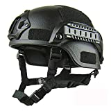 LIBWX Casco táctico Militar balístico, Casco Ligero de Calidad, Casco táctico Airsoft MH Casco táctico para Exteriores Painball CS SWAT Riding Protect Equipment,Negro