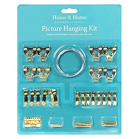 60 Piece Picture Frame Wall Hanging Kit Hooks Wire Nails
