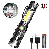Taschenlampe LED Aufladbar, Magnet USB Taschenlampen, Banral COB Arbeitsleuchte Zoom Extrem Hell Wasserdicht Taktische Taschenlampe Mit 4 Modi, für Outdoor Camping Notfall (Inklusive Akku)