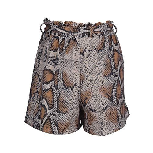 cinnamou Lässige Shorts mit modischem Riemen,Mode Frauen Hohe Taille Schlange Print Verband Sport Shorts Hosen Lässige Leggings -