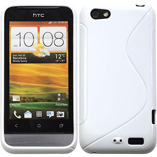 PhoneNatic HTC One V Hülle Silikon weiß S-Style Case One V Tasche + 2 Schutzfolien