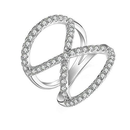 SonMo Ring Solitär 925 Sterling Silber Verlobungsring Hochzeit Ring Eheringe Solitär Weiß Ringe Diamant Knoten Zirkonia Ring für Damen Größe 60 (19.1)