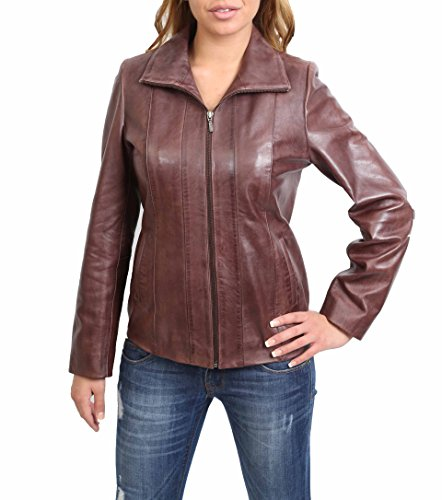 Damen Klassisch Zip Up Echtes Lederjacke Damen Semi Fitted Lammfell Mantel JULIA Braun (XXXXL (48)) (Jacke Semi Fitted)