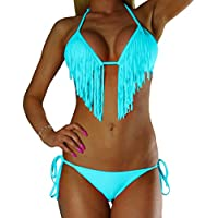 ALZORA Neckholder Damen Bikini Push Up Set Top und Hose Türkis Tassel, F925