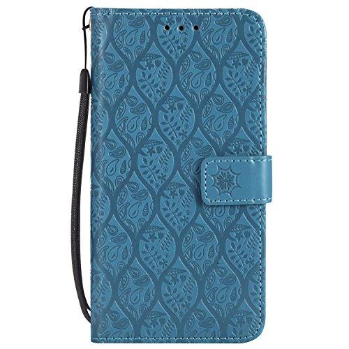 Gray Plaid Coque Motorola Moto E5, Haute Qualité PU Cuir Flip Étui Case Cover [Portefeuille] [Porte-Carte] [Fonction de Support] pour Motorola Moto E5 - Bleu