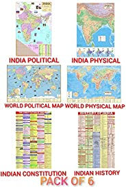 India & World Map ( Both Political & Physical ) with Indian Constitution and Indian History Chart | Se