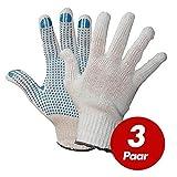 Polyester Strickhandschuhe KORL mit PVC Noppen Arbeitshandschuhe Handschuhe Noppenhandschuhe VPE 3 Paar, Größe:8 (M)