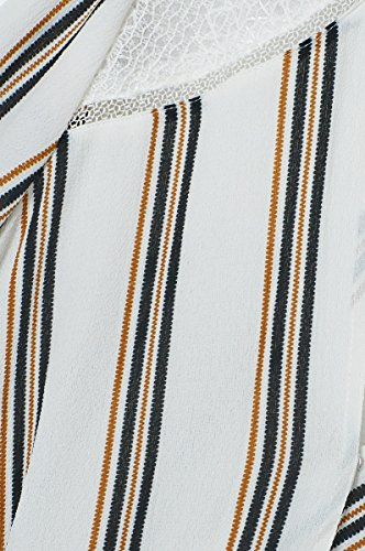 Robe femme à rayures avec empiècement dentelle à sequins col V Killeen – Manches 3/4 – Cherry Paris – Nouvelle collection Automne Hiver 16/17 – Disponible en 2 couleurs : Bordeaux Ecru Ecru