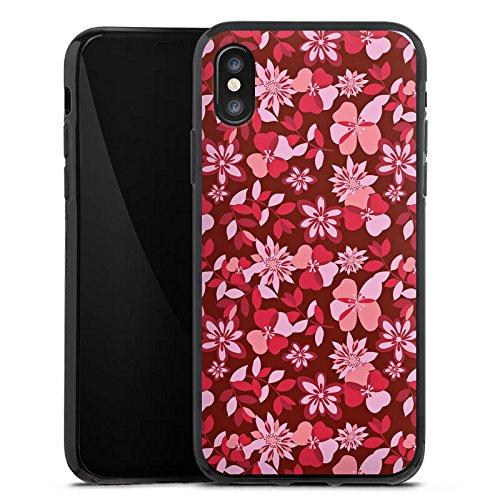 Apple iPhone X Silikon Hülle Case Schutzhülle Blumen Muster Ornament Silikon Case schwarz