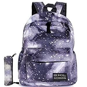 Galaxy School Backpack, Travel Bag Unisex School Bag Collection Canvas Backpack (Black)