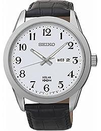 Seiko Herren-Armbanduhr Analog Quarz Leder SNE371P1