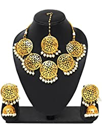 Gorgeous Gold Plated Party Wear Traditional Wedding Necklace Set For Women/Jewellery For Women