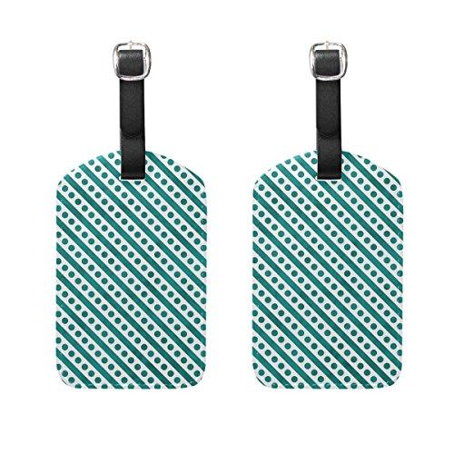 Dots Polka Gepäck-tags (Coosun helle Teal und weiß kleine Polka Dots Streifen Gepäck Tags Reisen Etiketten Tag Name Kartenhalter für Gepäck Koffer Tasche Rucksäcke, 2 PCS)