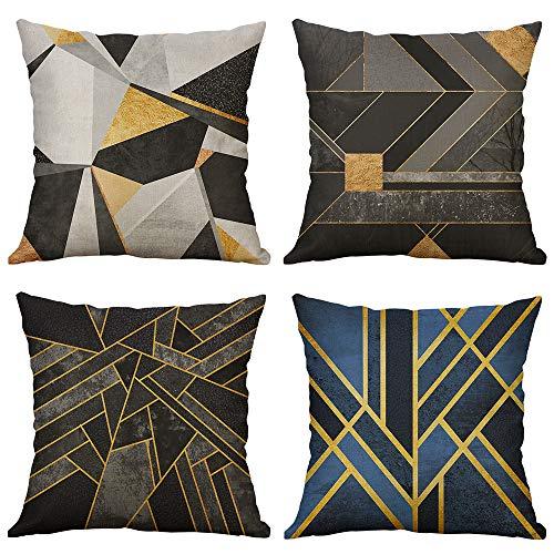MIULEE Pack Von 4 Dekorative Kissenbezüge Unregelmäßigen Geometrischen Muster Kissenbezug Kissen Fällen Wurfkissen Einzigartiges Design Für Sofa Couch Schlafzimmer 18X18 Inch - Kissen Schlafzimmer-dekorative