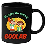 Huppme Happy Birthday Goolab Black Ceramic Mug (350 ml)