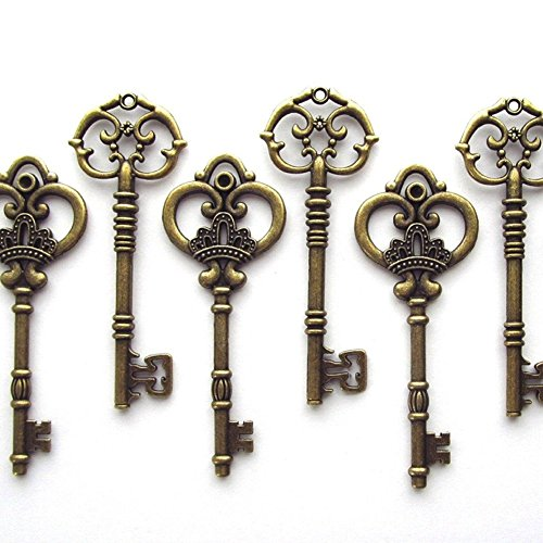 Makhry - Conjunto de 20 llaves maestras extragrandes en bronce antiguo (2 estilos), llaves de 8,2 cm