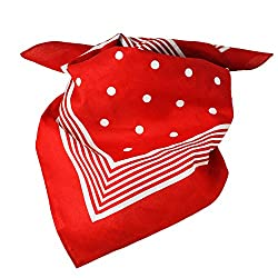 Red With White Stripes & Polka Dot Bandana Neckerchief by Ties Planet