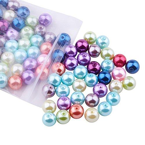 Floral-Direkt 500 Stück 8mm Glasperlen runde sortierte mischfarbige Perlen für Schmuckherstellung -