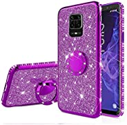 EnjoyCase Glitter Case Xiaomi Redmi Note 9S,Bling Diamond Rhinestone Girls Women Cover with Ring Kickstand Shi