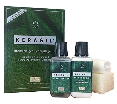 KERAGIL Lederpflege Set, Je 150 ML Reiniger und Pflege von LCK KERALUX. Sehr gut für Longlife Leder geeignet
