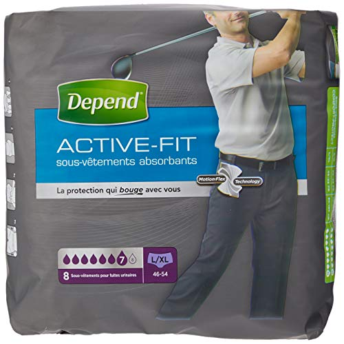 Depend Active Fit Sous-Vêtements Homme (7 Gouttes) Taille 46-54 (L/XL) L/XL pour Fuites Urinaires et Incontinence x32 (4 Paquets de 8 Sous-Vêtements)
