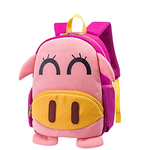 kids-backpack-with-safety-harness-rein-walking-toddler-backpack-cute-colorful-pig-waterproof-pink-pu
