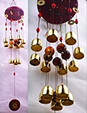 Caldipree Brass Bell Colorful Wind Chimes with Fengshui Fish- Windchimes Home Positivity & Good Luck (13 Bell)