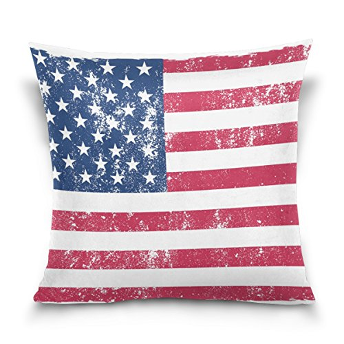 ALAZA USA American Flag Vintage-Platz Dekokissen Fall Cotton Velvet Kissenbezug (Flag Kissen Dekorative Usa)