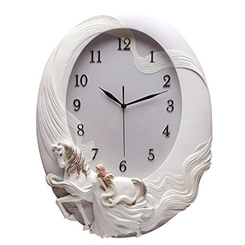 LINA Personnalité Art Cheval Horloge Murale Salon Chambre Corridor Ovale Horloge Mute Romantique Simple Haut de Gamme Élégant Grand Horloge Murale Créative (Couleur : Silver)