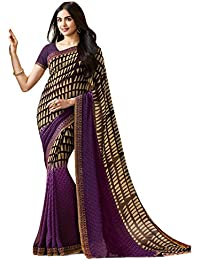 KAMELA SAREE women's silk material Purple colour Printed Party wear saree With Blouse