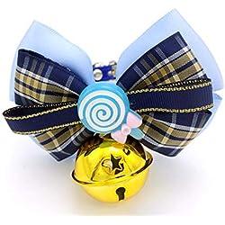 Dixinla Collier Chien Treillis Bleu en Peluche Papillon Noeud Bell Ornement Chat Cravate Collier Chien