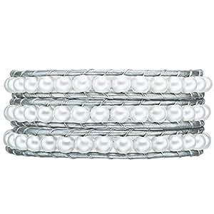 Rafaela Donata Damen-Armband Leather Collection Leder silberfarben Perlen weiß 60831028