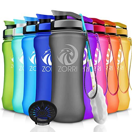 ZORRI Sport Trinkflasche auslaufsicher, BPA Frei & Umweltfreundlich Wasserflasche Für Kinder & Frauen, One Handed Open & Tritan, Für Gym/Outdoor/Camping - Grau - 600ml