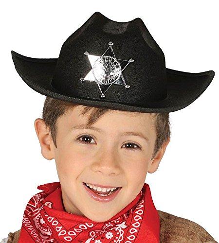 KINDER HUT - SHERIFF - schwarz (Cowboy Hut Helm)
