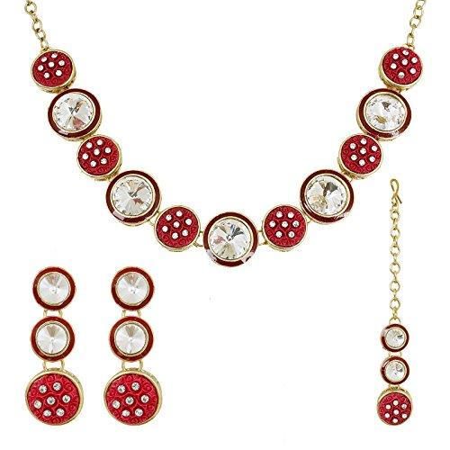 fasherati Royal Kundan Halskette Set mit tief rosa Emaille Florals für Frauen