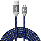 Fasgear Micro USB Charger [1.83m] Nylon Braided Tangle-Free Fast Charging Cable for Redmi 4 4A 5 5A, Moto G5 Plus, Samsung On5 On7 Prime(1.83m, Blue)