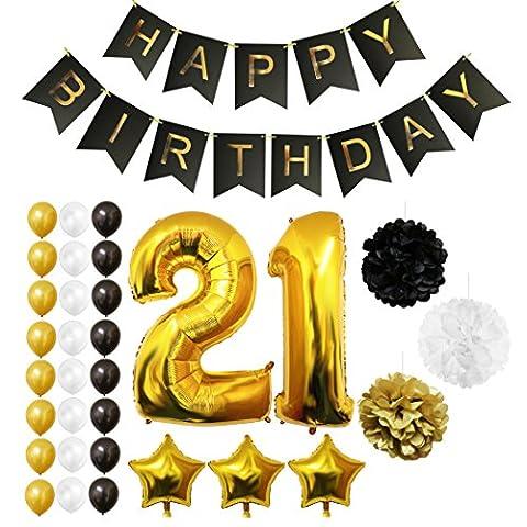 21. Geburtstag Luftballons Happy Birthday Folienballons Party Zubehör Set & Dekorationen von Belle Vous - Folienballons für den 21. Geburtstag ? Gold, Weiß & Schwarz Latex-Ballon-Dekoration - Dekor für alle Erwachsenen geeignet