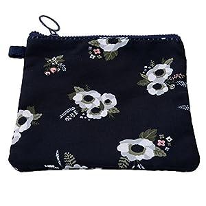 ODN Blue Flowers Pattern Sanitary Napkin Holder Canvas Zipper Lovely Flowers Storage Pocket Handbag Pocket Gift Bag