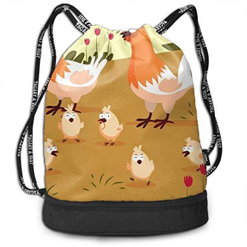 Bolsas de cuerdas,Bolsas de gimnasia,Mochilas tipo Casual, Funny Dance Gift Unisex Drawstring Fashion Beam Backpack Yellow Chicken Print Backpack Travel Gym Tote Cosmetic Bag