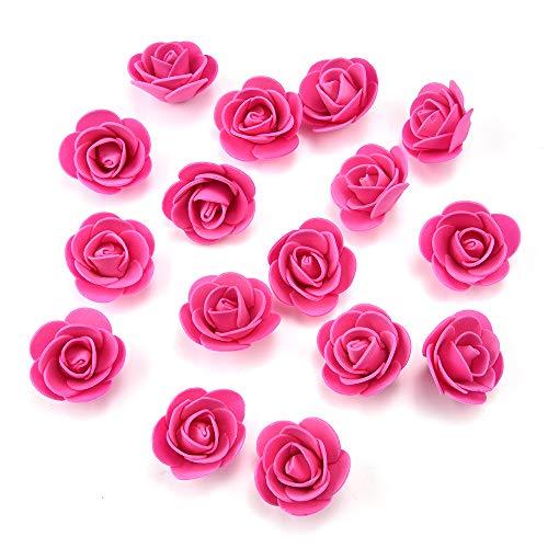AZXU Künstliche Mini PE Schaum Rose Blüte Handgemachte DIY Hochzeit Dekoration DIY Scrapbooking Gefälschte Blume Kuss Ball 50 Teile/los 3 cm (Rose red) -