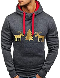 ZIYOU Merry Christmas Herren Hoodie Pullover Herbst Winter Warm Casual Sport Streetwear Long Sleeve T-Shirts Tops Weihnachten Sweatshirt Outwear
