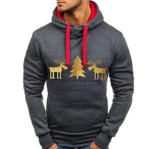 Herren Männer Kapuzenpullover Hoodie Deer Lässig Druck Weihnachtspullover -