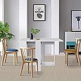 MUPAI Mesa de Comedor Plegable de Madera, con 2 Alas Abatibles Ahorra Espacio, Cocina Salón Mesa 102.5 x 76 x 73 cm (Blanco)