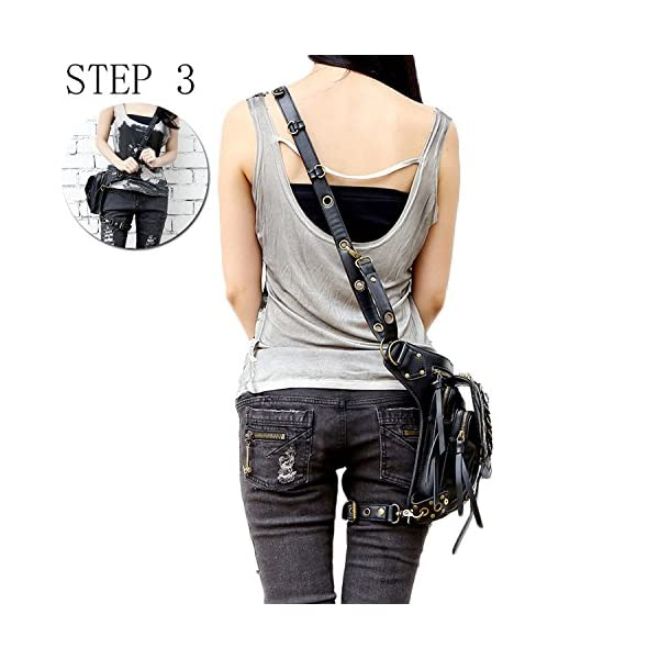 Steampunk Bag Steam Punk Retro Rock Gothic Goth Shoulder Waist Bags Packs Victorian Style for Women Men + Leg Thigh Holster Bag DM201605 100% Brand New and High Quality. Adjustable belt design for better fitting body Material : Leather ( PU Leather) Durable material and workmanship to withstand daily wear & tear. 4