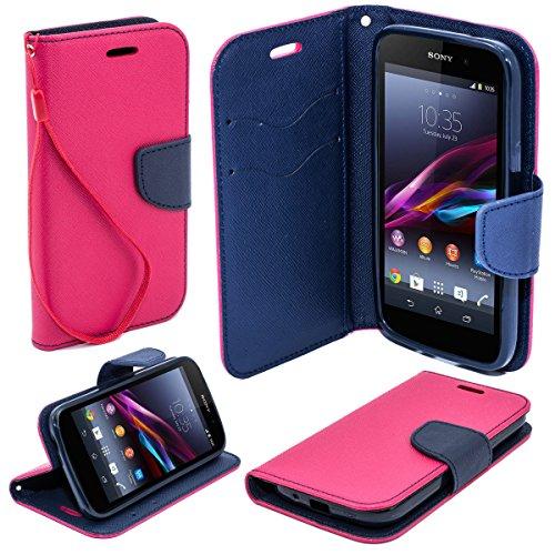 Moozy due colori Fancy Diary Custodia Flip cover con funzione di appoggio / cinturino / supporto del telefono in silicone per Sony Xperia Z1 Mini Rosa / Blu