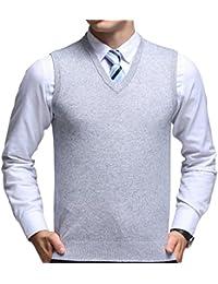 FULIER Mens Invierno sin mangas con cuello en V chaleco Classic Business Gentleman prendas de punto de punto chaleco suéter Cardigans Tank Tops